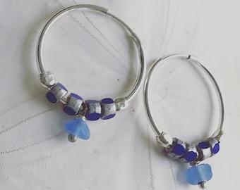 cornflower blue sea glass silver hoop earrings, glass bead and sea glass hoop earring, glass earrings, cobalt sea glass silver hoop earrings