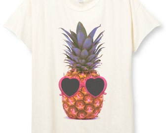 Womens Beach Pineapple Shirt, Pineapple Sunglasses T-shirt, Trendy, Tumblr, Summer Tee, 100% Cotton Small Medium Large XL