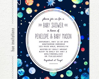 space boy baby shower invitation, blue green red planets stars printable baby shower invite, 5x7 or 4x6 size, jpg or pdf n2