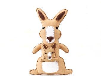 Kangaroo Stuffed Animal Sewing Pattern, Kangaroo Hand Sewing Pattern, Felt Plush Kangaroo and Joey, Kangaroo Softie Stuffie, Easy Sewing PDF