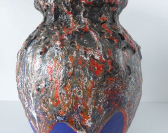 A Beautiful Ruscha Vase with an Unusual Separate Thick Fat Lava Colors, West Germany 1970.