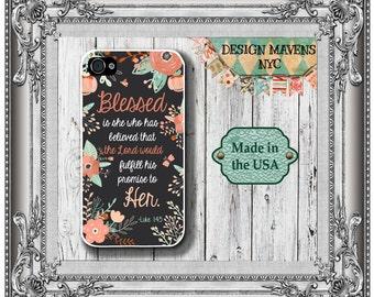 Floral Bible Quote iPhone Case, Floral Phone Case, Blessed is She, Luke 1:45, iPhone 8, 8 Plus, iPhone 7, 7 Plus, iPhone 6, 6s, 6 Plus, SE