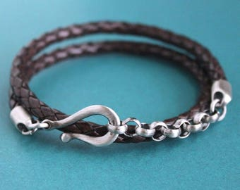 Leather and Silver Chain Bracelet, Mens Wrap Bracelet, Brown Leather Bracelet