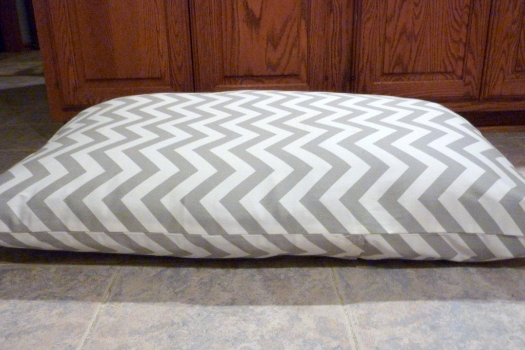 Gray Chevron Dog Bed Cover - Personalized with name NO extra charge - 9 colors to choose from -Med/Large Dog Bed 28x36 - Pet Bed