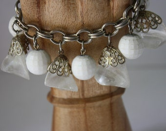 Funky Chunky Clunky White and Ice Crystal Dangle Link Bracelet