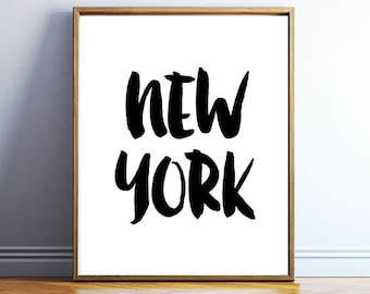 Printable New York poster - downloadable New York wall print - travel print download - black and white - minimalist print - INSTANT POSTER