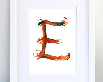 Print, Art Print, Wall Decor, Wall Art, Illustration Print, Red Ink Drawing, Letter E, print 8x11.5 inch (21x29.5 cm)