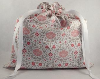 Pink Poppy Fabric Bag - Medium