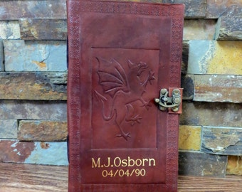 Personalized Leather Dragon Journal - Diary - Graduation Gift 572WL