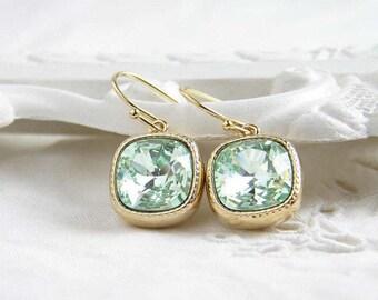 Swarovski Earrings ~ Chrysolite ~ Gift for Her ~ Cushion Cut ~ Light Green Earring ~ Light Peridot ~ Simple Modern