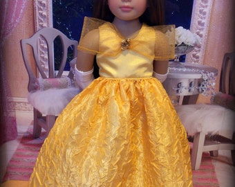 Beauty and the Beast Fancy Ball Gown Fits Kidz N Cats Dolls -- Belle of the Ball in Yellow Gold