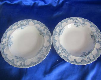 Victorian Pair of Blue & White Patterned Dinner Bowls