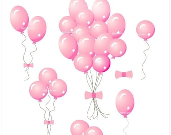 ON SALE Digital clip art for all use, Pink Balloons, INSTANT Download