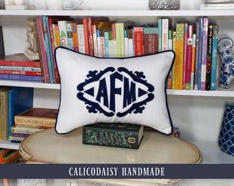 The Lisette Applique Framed Monogrammed Pillow Cover - 12 x 16 lumbar