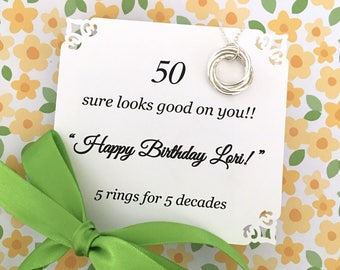 50th BIRTHDAY Gift FIFTY Fiftieth Birthday Necklace With POEM Sterling Silver 5 Rings for 5 Decades Happy Birthday Sister Friend Connected