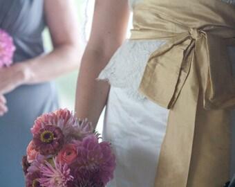 Bridal Sash Wedding Gown Sash - Dupioni Silk