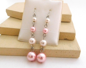 Retro Pastel Pink White Glass Pearl Bead Silver Tone Dangle Earrings C23