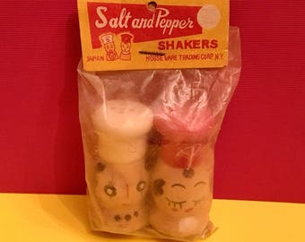Mid Century Wooden CHEF Salt and Pepper SHAKERS JAPAN