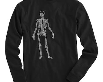 Skeleton Tee - Long Sleeve T-shirt - Men S M L XL 2x 3x 4x - Skeleton Gift, Skeleton Shirt, Body Tee, Human Bones Tee, Bones Tee, Skull Tee