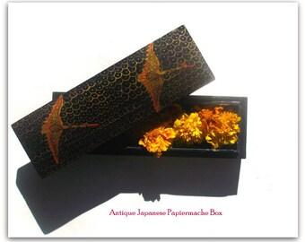 """Antique Japanese Hand Lacquered Papierm ache  Trousseau Quality  """"Glove Box"""" -Zen Home Decor"""