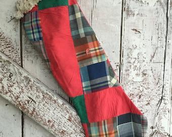 Primitive Christmas stocking made of antique repurposed quilt vintage rustic stocking