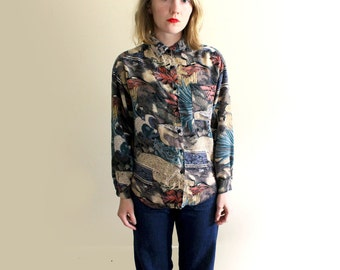 vintage shirt 90s novelty ancient ruins print 1990s blouse womens clothing size l large