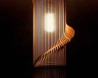 Twisted Lasercut Wooden Lampshade No.1