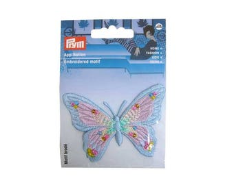 Embroidered Butterfly motif blue and pink with pearls, fusible