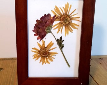 A Statement of Yellow and Purple Pressed Flower Art