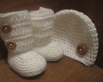 Crochet Baby Hat and Booties Set