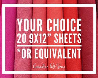 20 Wool Felt Sheets, Wool Blend Felt, Choose Your Own Colours, Wool Fabric, Nonwoven Fabric, Merino Wool, 9x12 Sheets, 12x18 Sheets