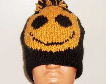 Black hats for Men's hats knit with pom with gold happy smiley face hat mens gifts for him valentines day gift