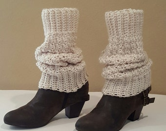 Crochet Cream Leg Warmers, Wide Cuff For Perfect Fit, Knit Cream Leg Warmers, Extra Long Cream Boot Toppers, Vegan Yarn, Soft and Squishy