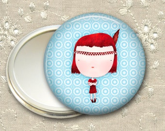 cute girl pocket mirror,  red haired girl art hand mirror, mirror for purse, bridesmaid gift, stocking stuffer  MIR-109