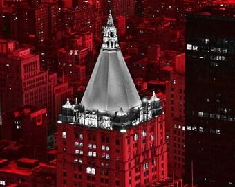 New York Life Building - Modern Fine Art Urban City Photography, office, hotel, home, wall deco, nightsky, lights, glow,landmark,red,vibrant