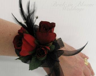 Red rose black feather wrist corsage black pearl bracelet Wedding corsages