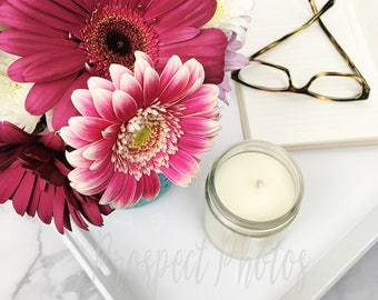 Flower Styled Stock Photography| Flower stock photos| Lifestyle Instagram photos | candle stock photo