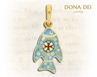 Fish. Sterling Silver, 24k Gold Plated Enamel Christian Pendant