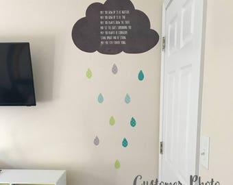 Cloud and Raindrop Inspiration Wall Decals - Eco Wall Decals