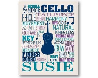 Cello Typography Poster, Cellist Wall Art, Cello Player Gift, Cello Canvas, Cello Gift, Cellist Gift, Cello Teacher Art, Cello Art Print