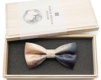 Biege & Grey Mixture Pattern  -Graduation Gift, Toddler Bowtie , Wedding Ties, Groomsmen bow tie, Pre Tied and Adjustable Novioshk, H0071