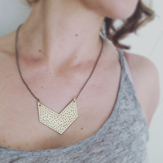 Raw Brass Spotty Chevron Necklace