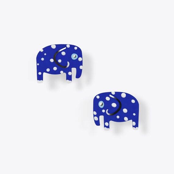 Blue Polka Dot Elephant Earrings