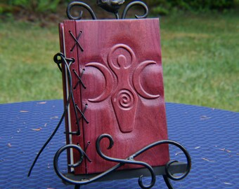Customizable Wood and Leather Bound Blank Journal - Goddess