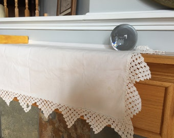 Vintage Mantel Cloth Antique Linens Very Long Cloth with Crochet Edging Trim