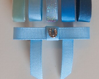 Bun Bow with Rhinestone Horseshoe, 5 blue ribbon colors, Saddleseat Bow, Equestrian Horse Show Bow, saddle seat bow