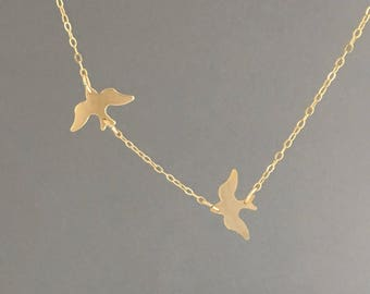 Two CHASING Dove Birds Gold Fill Necklace also in Silver and Rose Gold Fill