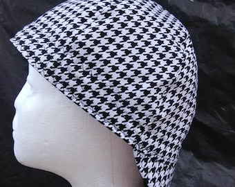 Black-White Hounds Tooth Welding Cap