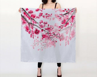 Cherry Blossom Silk Scarf - pink - large scarf, gift for her
