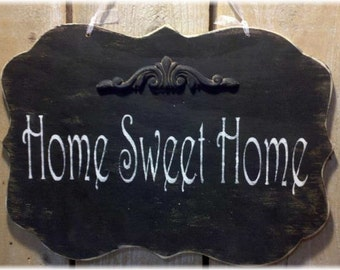Home Sweet Home Black Shabby Chic Wood Sign Custom